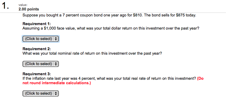 how to calculate total dollar return on a coupon bond