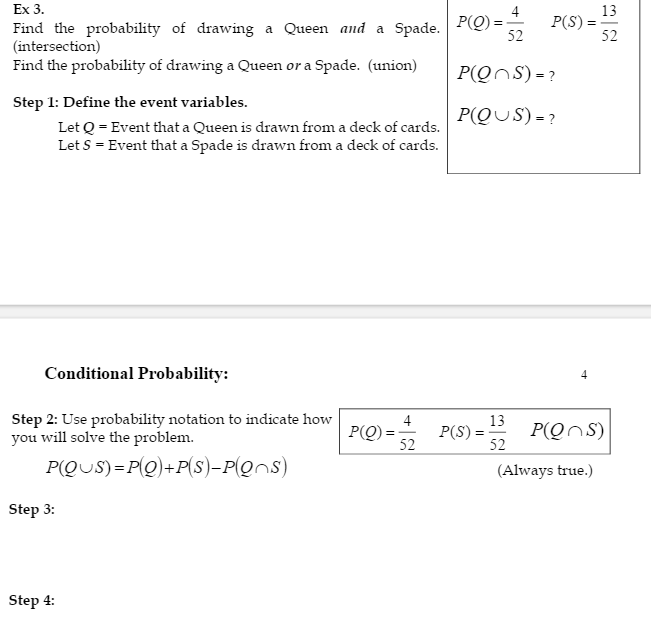 Solved: Ex 3 P(9) POS) Find The Probability Of Drawing A Q ...
