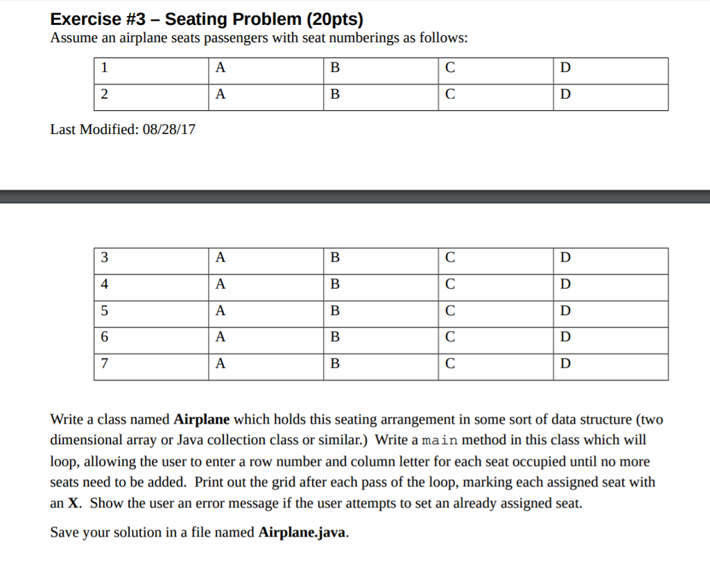 Exercise 3 Seating Problem 20pts Assume An Airplane Seats Passengers With Seat