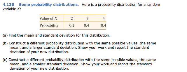 4138 some probability distributions here is a pr chegg here is a probability distribution for a random variable x value of x 2 3 4 probability 02 04 04 a find the mean and standard deviation ccuart Images