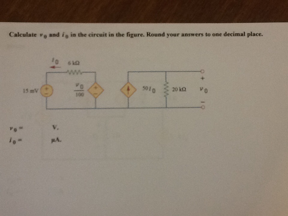 Calculate v 0 and i 0 in the circuit in the figure