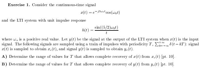 Consider the continuous-time signal x(t) =e -j3w0t