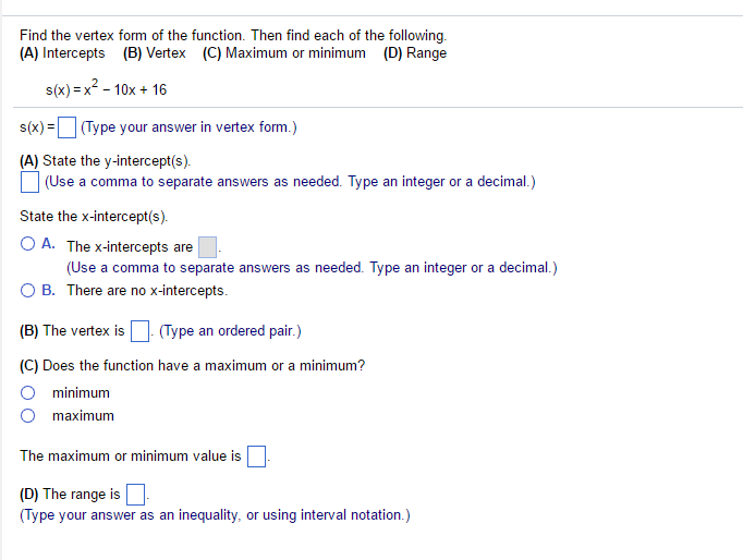 Solved Find The Vertex Form Of The Function Then Find Ea