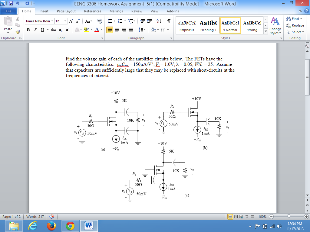 Find the voltage gain of each of the amplifier cir