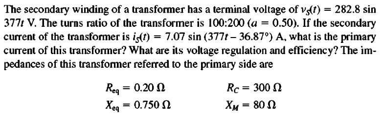 The secondary winding of a transformer has a termi
