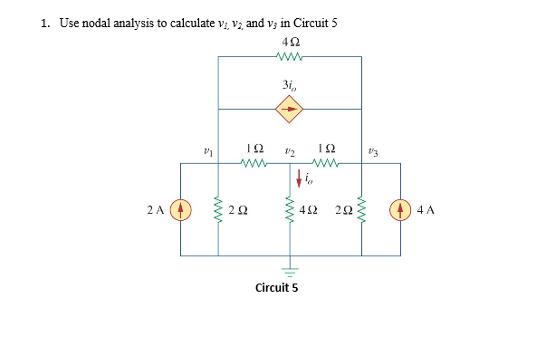 Use nodal analysis to calculate v1, v2, and v3 in