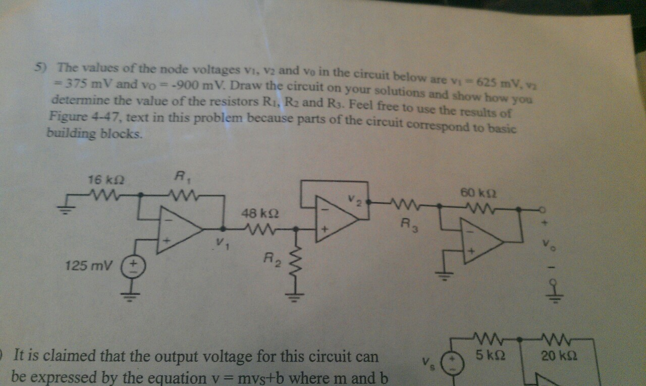 The values of the node voltages v1, v2 and v0 in t