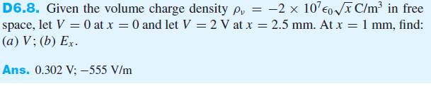 Given the volume charge density pv = -2 x 107 in