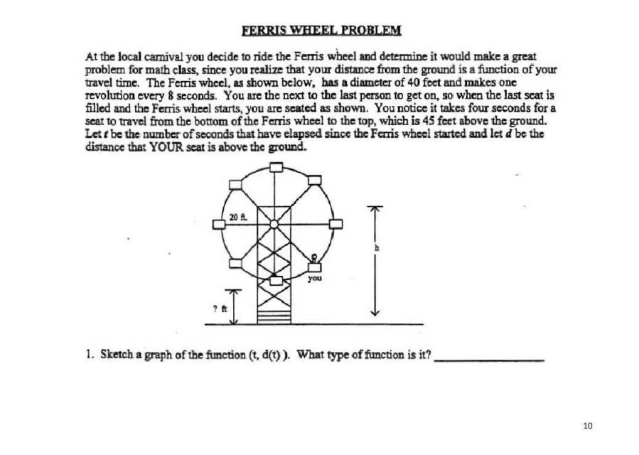 [High School] Trig: The Ferris Wheel Problem : learnmath