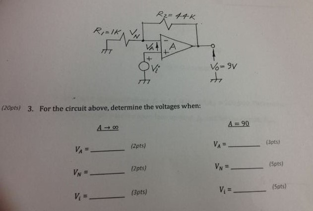 For the circuit above, determine the votages when