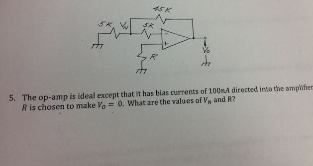 The op-amp is ideal execpt that it has bias curren