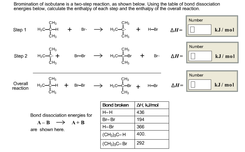 Bromination Of Isobutene Is A Two-step Reaction, A... | Chegg.com