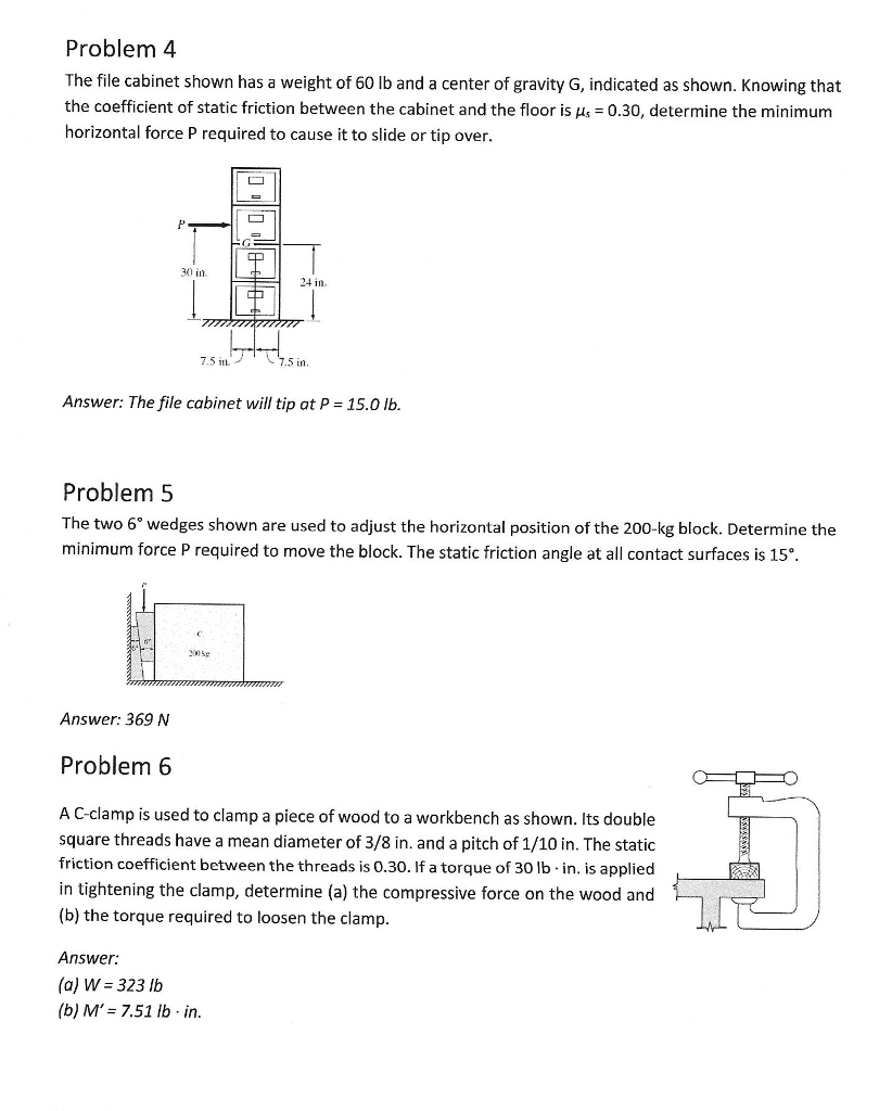 Problem 4 The File Cabinet Shown Has A Weight Of 60 Lb And A Center Of