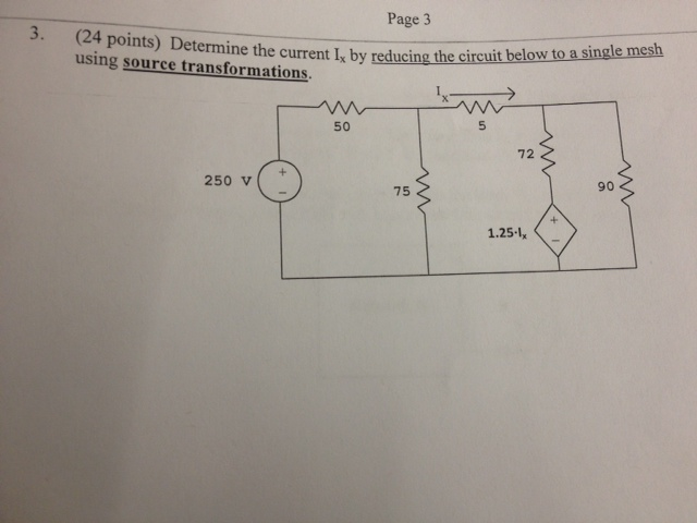 Determine the current Ix by reducing the circuit b