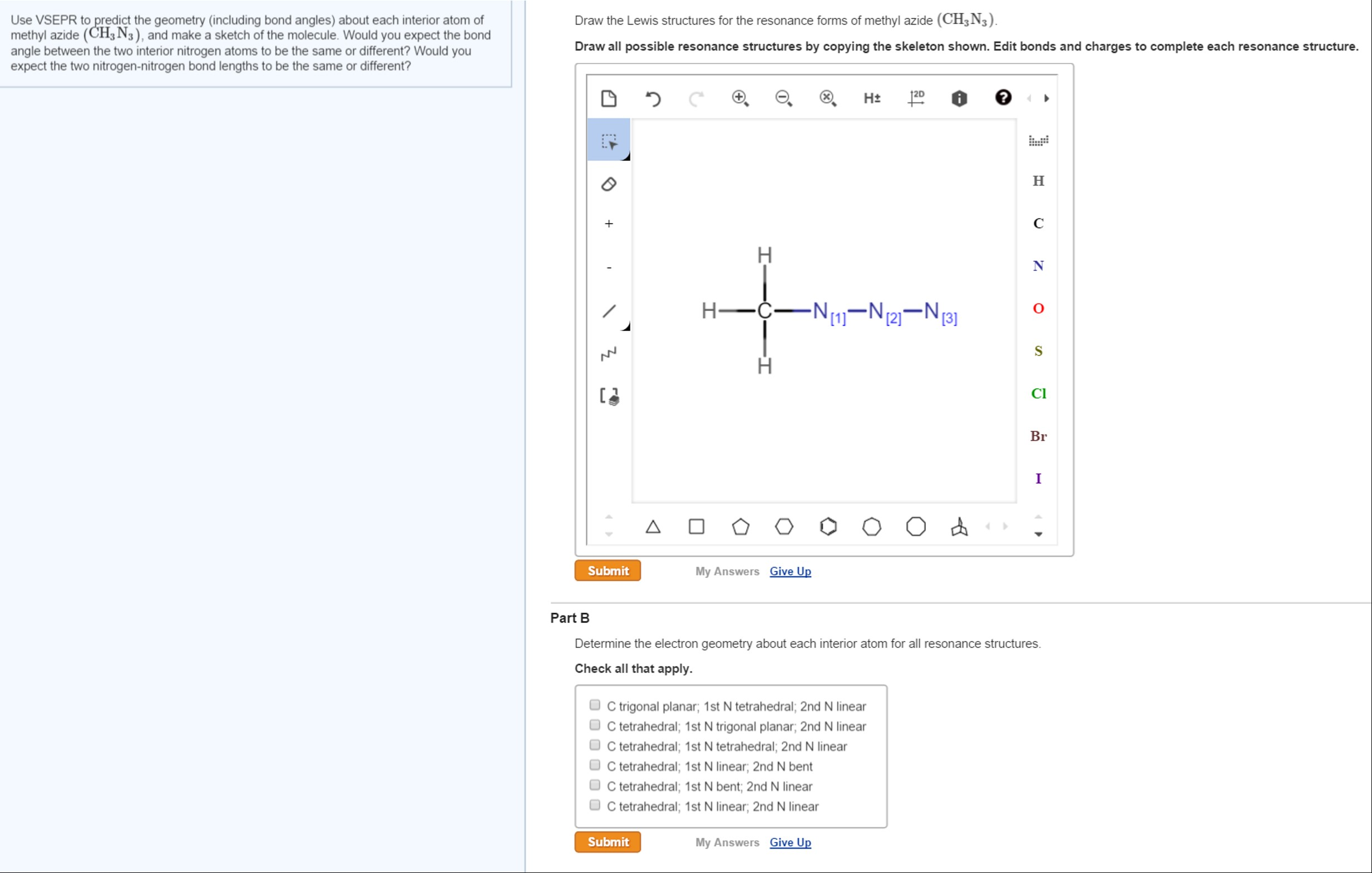 Solved draw the lewis structures for the resonance forms use vsepr to predict the geometry including bond pooptronica