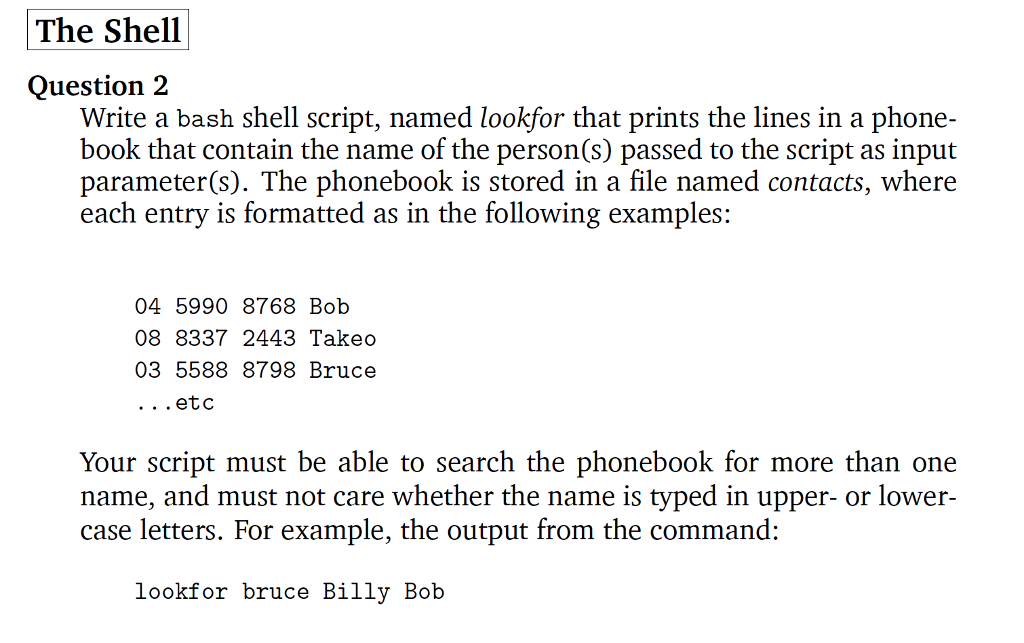 Solved: Write A Bash Shell Script, Named Look For That Pri ...