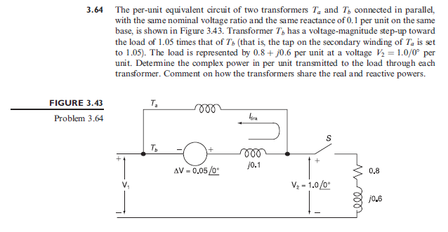 The per-unit equivalent circuit of two transformer