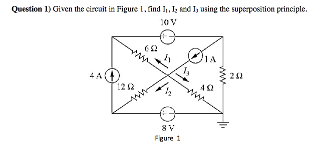 Given the circuit in Figure 1, find I1, I2 ad I3 u