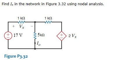 Find Io in the network in Figure 3.32 using nodal