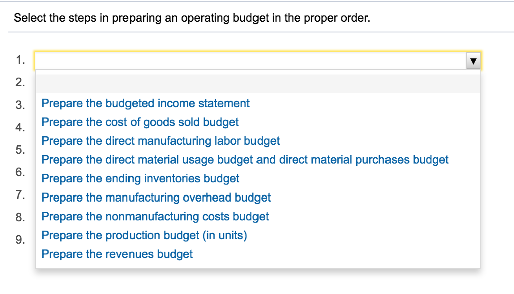 Great Question: Select The Steps In Preparing An Operating Budget In The Proper  Order. Prepare The Budgeted Inco.