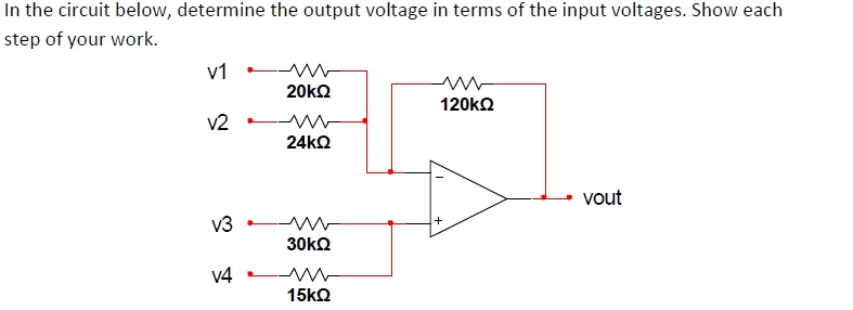 In the circuit below, determine the output voltage