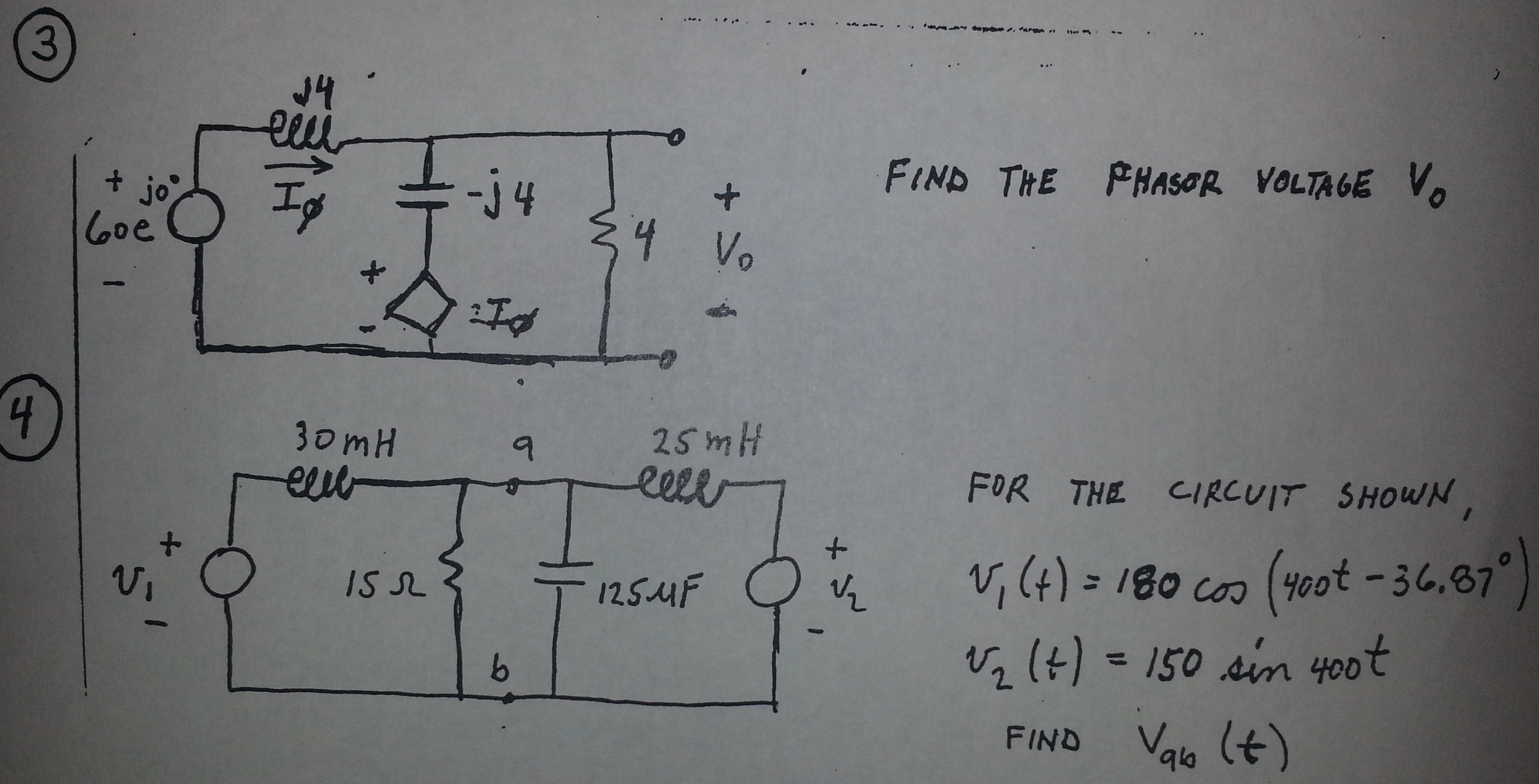 Find the phasor voltage For the circuit shown v1