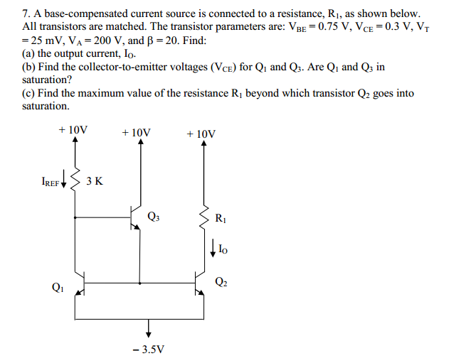 A base-compensated current source is connected to