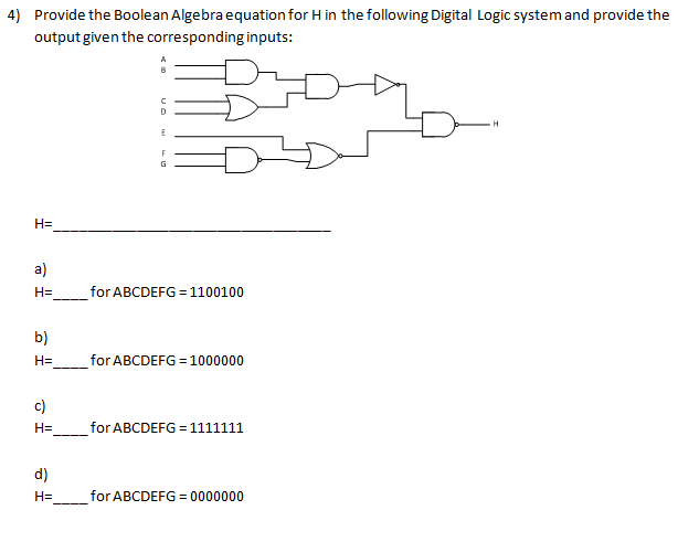 Provide the Boolean Algebra equation for H in the