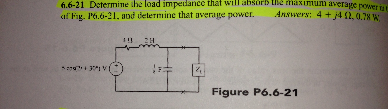 Determine the load impedance that will absorb the
