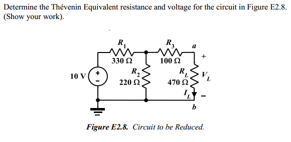 Determine the Thevenin Equivalent resistance and v