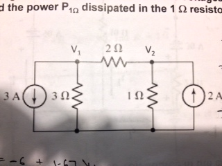 Find the power P 1 Ohm dissipated in the 1 Ohm res