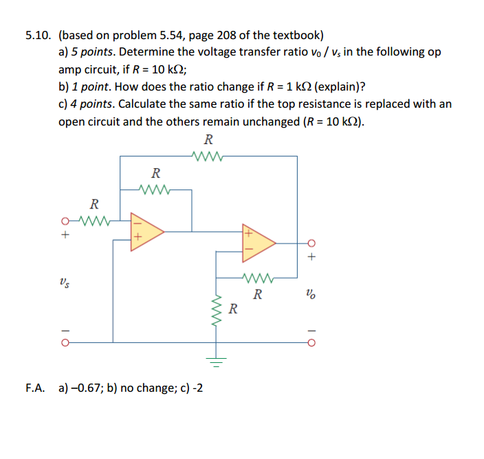 a) Determine the voltage transfer ratio v0 / vs in