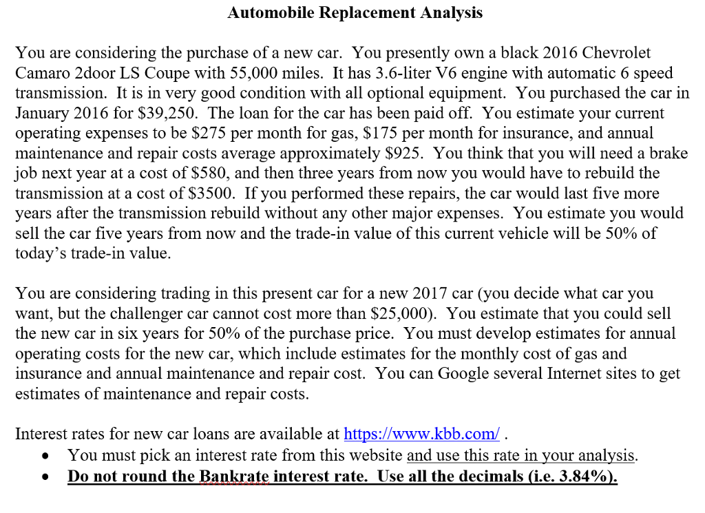 Automobile Replacement Analvsis You Are Considerin... | Chegg.com