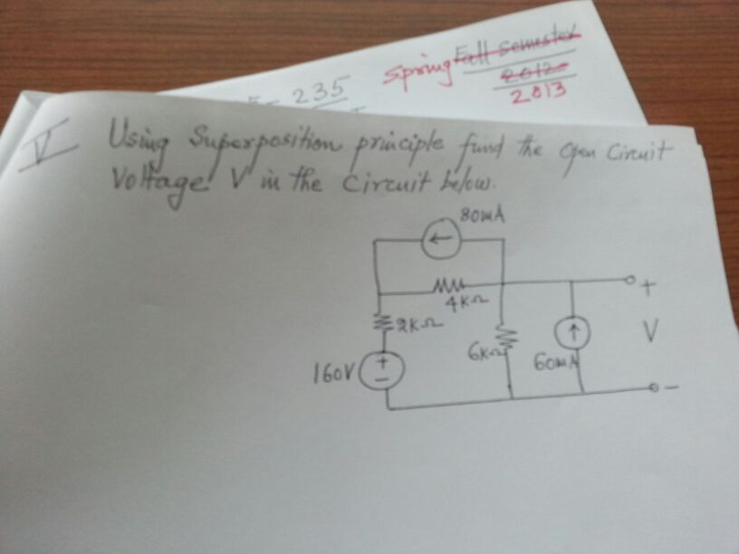 Using superposition principle find the open circui