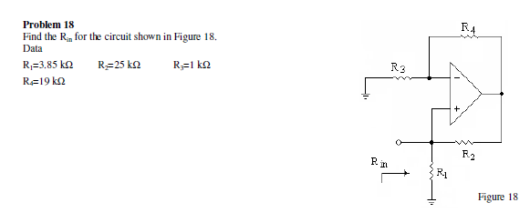 Find the Rin for the circuit shown in Figure 18.