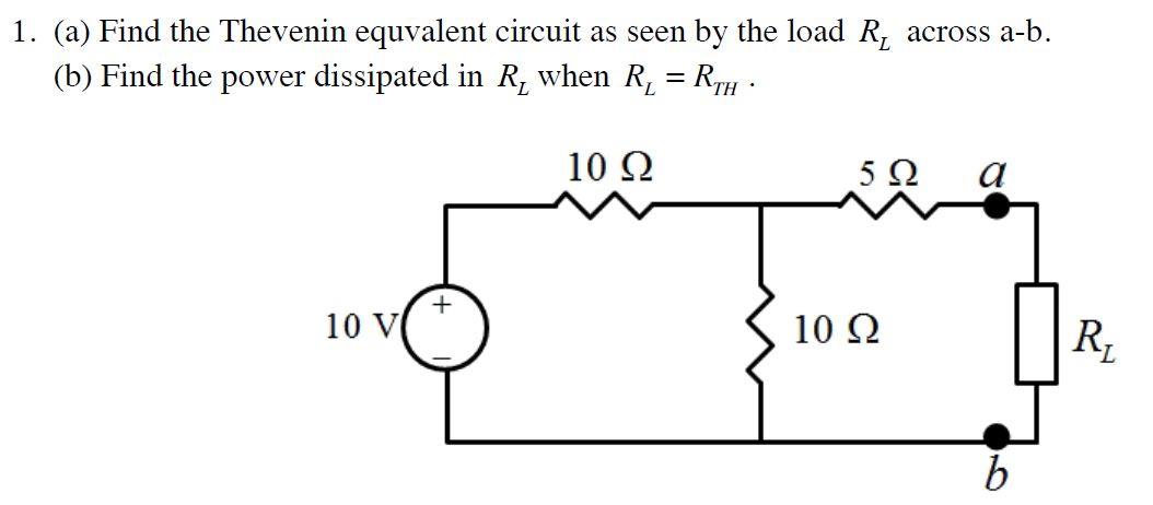 Find the Thevenin equivalent circuit as seen by th