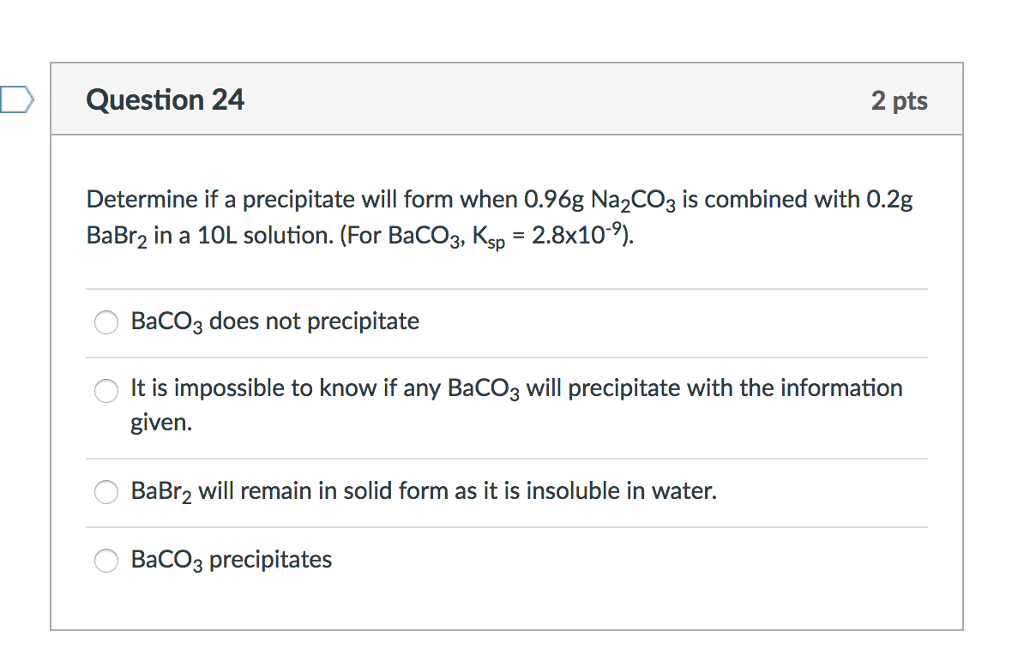 Determine If A Precipitate Will Form When 0.96g Na... | Chegg.com