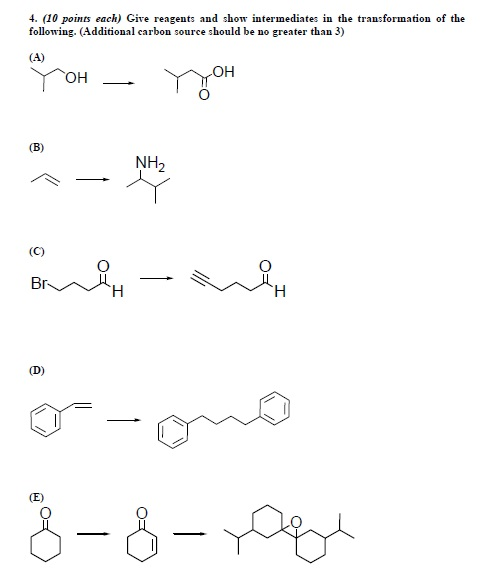 Give reagents and show intermediates in the transf