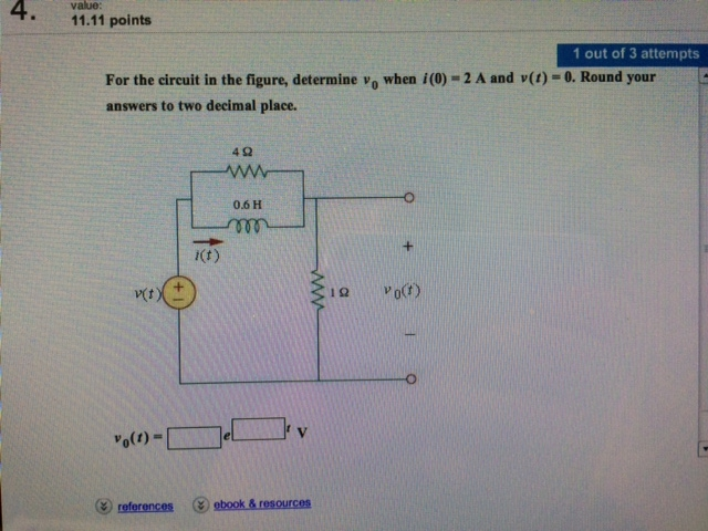 For the circuit in the figure, determine v0 when i