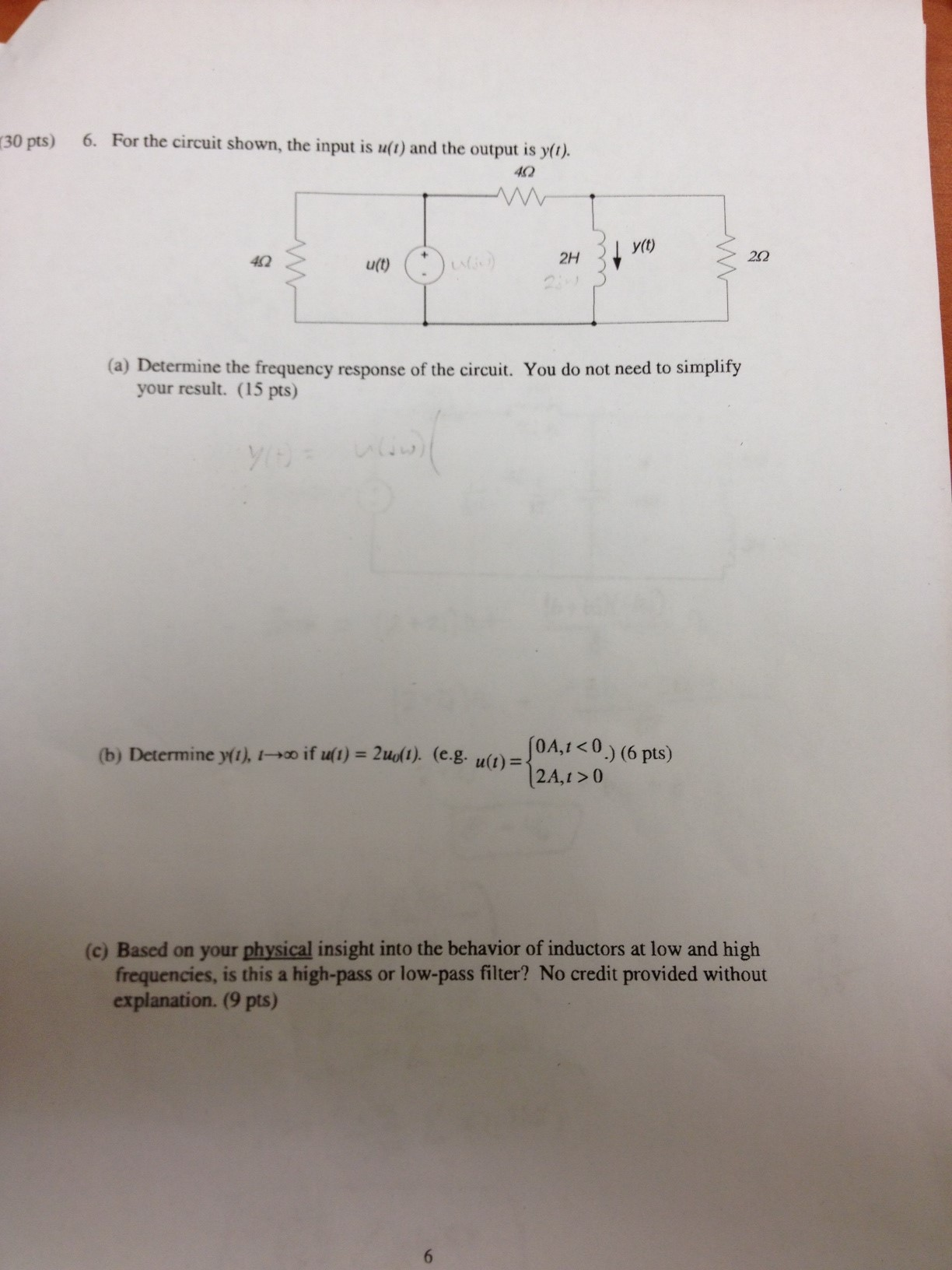 For the circuit shown, the input is u(t) and the o