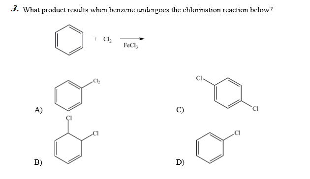solved  what product results when benzene undergoes the ch