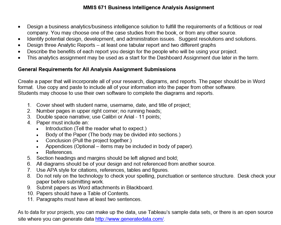 Business intelligence essay