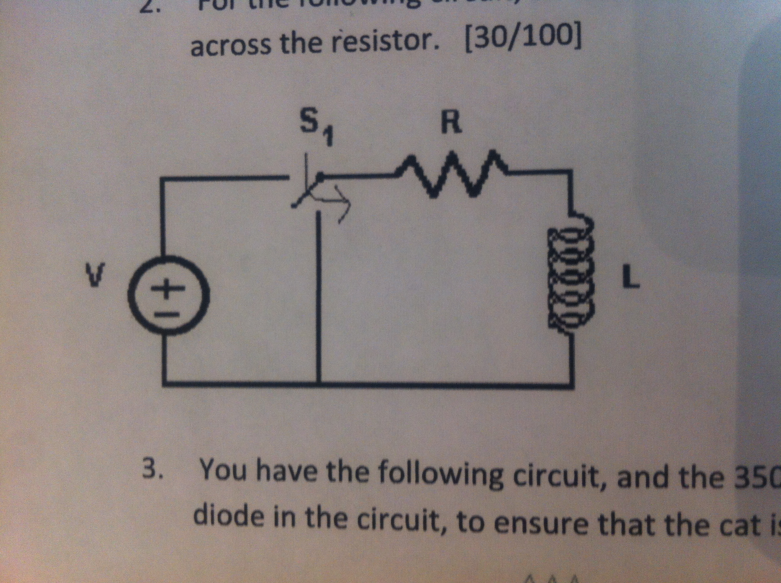 across the resistor. You have the following circu