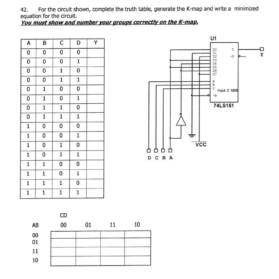 For the circuit shown, complete the truth table, g