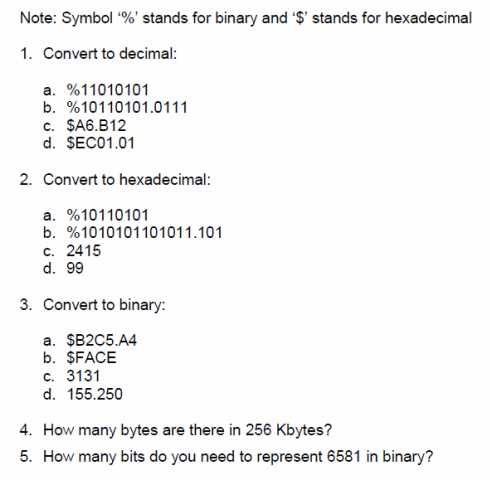 Note: Symbol '%' stands for binary and '$' stands