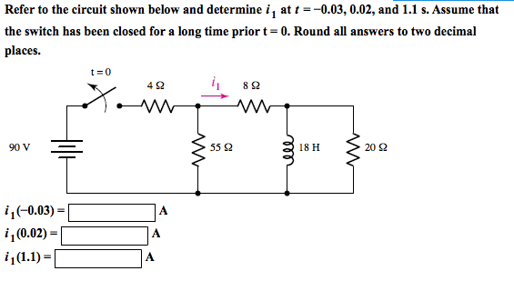 Refer to the circuit shown below and determine i1