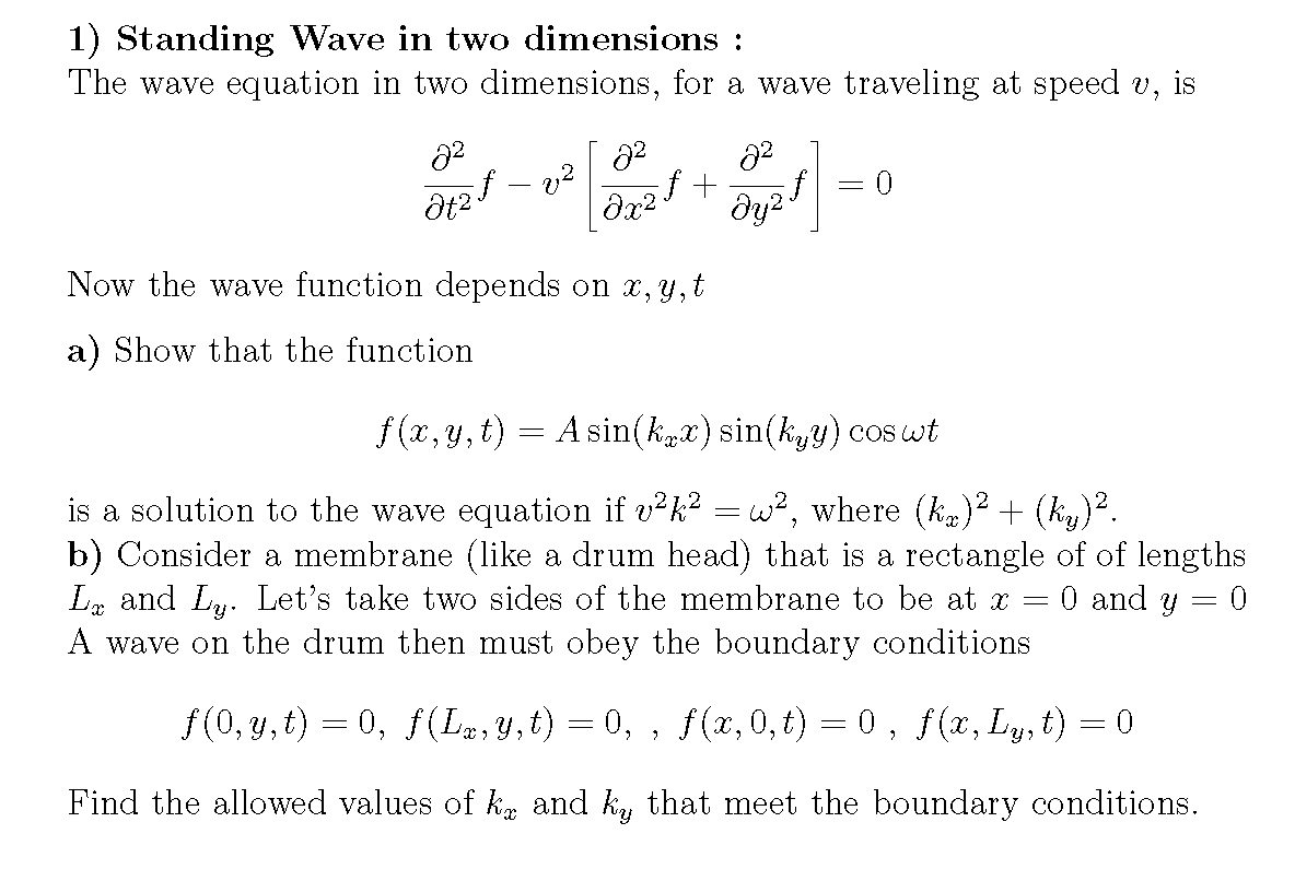 Standing Wave in two dimensions : The wave equati
