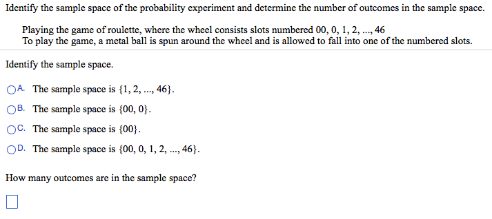 Identify The Sample Space Of The Probability Exper... | Chegg.com