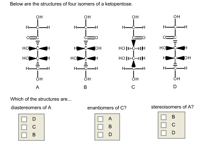 Below are the structures of four isomers of a keto