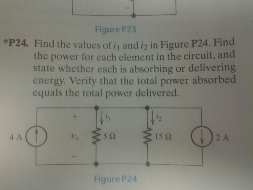 Find the values of i1 and i2 in Figure P24. Find t